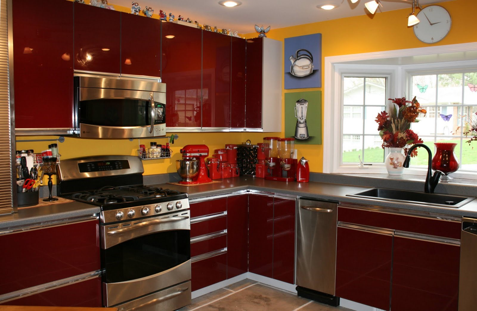 Yellow And Red Kitchen Angle Renovations